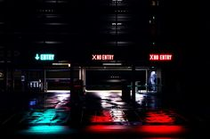 Three entrances to parking garage at night with neon signs that say Entry or No Entry Free Pictures, Free Photos, Free Stock Photos, Free Images, Popup, Portal, Steel Companies, Daily Hacks, Life Hacks