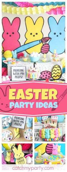 Don't miss this cute Easter Egg Coloring Party! The dessert table is awesome!! CatchMyParty.com #catchmyparty #partyideas #easterparty #eastereggcoloringparty #easteregghunt