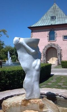 """Peju Provence - Napa Valley features art, fountains, koi pond, art gallery and delightful architecture inside and out including the """"green room"""" decked in polished green Brazilan quartzite"""