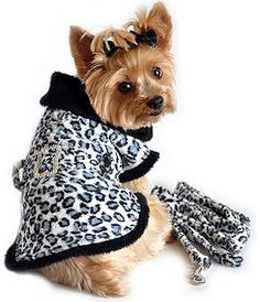 f2261ef76236 Classic Blue Leopard Faux Fur Dog Coat Harness with Rhinestone Bone Buckle  and Leash at Doggie Design