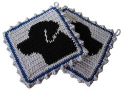Labrador Retriever Pot Holder Set. Black Lab by hooknsaw on Etsy