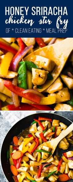 Honey sriracha chicken stir fry is a sweet and spicy 30 minute dinner recipe that always makes for a tasty meal prep lunch option. Packed full of veggies and chicken for a healthy but filling meal. Gluten-free friendly and clean eating. #sweetpeasandsaffron #stirfry #paleo #cleaneating #glutenfree #chicken #mealprep