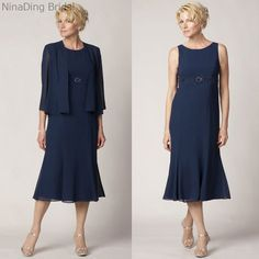 Lace Tea Length Mother of the Bride Dress Plus Size Navy Blue with Long Jacket Bead Mother of the Groom Dress for Beach Wedding