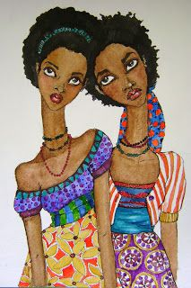 Watercolor - Two afro girls - all the world is beautiful colours African American Art, African Art, Natural Hair Art, Natural Hair Styles, Afro Art, African Diaspora, My Black Is Beautiful, Love Art, Art Gallery