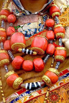 Khampa Dude's amazing coral and dzi bead necklaces
