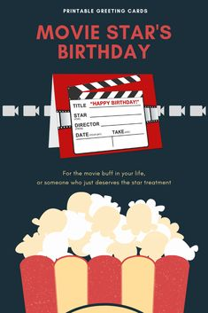 A birthday card designed especially for someone who loves movies, or one who simply deserves the star treatment on his or her special day! Birthday Star, It's Your Birthday, Birthday Cards, Opening An Etsy Shop, Birthday Card Design, Novelty Items, How To Make Paper, Folded Cards, Blank Cards