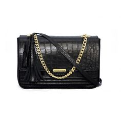 Geanta piele naturala neagra croco Fine As Wine cu lant metalic- Cathias Edeline Shoulder Bag, Wallet, Chain, Shopping, Shoes, Leather Bags, Black, Designers, Fashion
