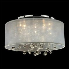 Silhouette 4-Light Wide Sheer Organza Shade Ceiling Light - #W4025 | LampsPlus.com