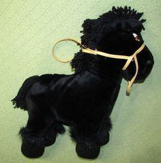 "Vintage Cabbage Patch Kids HORSE 1984 Black Plush Stuffed Pony with BRIDLE 16"" #CabbagePatchKids #PlushHORSE"