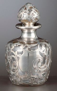 Art Nouveau Perfume Bottle with Silver Overlay