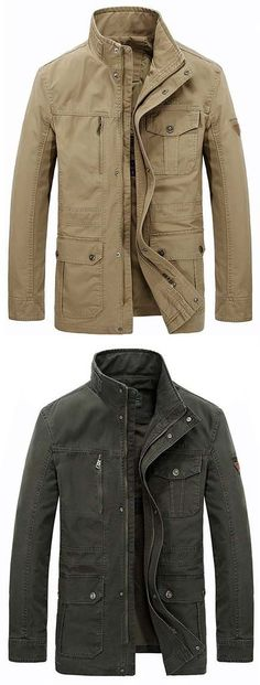 AFSJEEP Outdoor Casual Military Style Multi Pockets Solid Color Plus Size Jacket for Men