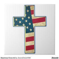 American Cross #2 Large Square Tile