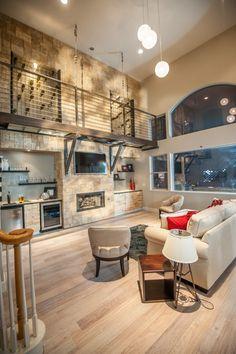 Ultimate 'Wow' Factor Living Room with a Modern Simplicity Kitchen | Design by Misha | designbymisha.com | #interiordesign #livingroom #winestorage #custom #builtins #catwalk #modern