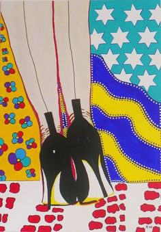 "Allesandra Tiller  ""Black Heels"" 2016 70 x 100 cm - Acryl auf Leinwand"