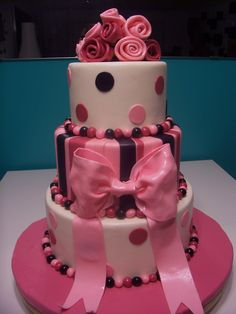 Bridal+Shower+cake+-+3+tiers..++Pink+Cake+Box+knockoff!