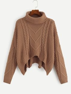 Shop Plus Mixed Knit Dip Hem Jumper online. SHEIN offers Plus Mixed Knit Dip Hem Jumper & more to fit your fashionable needs. Cropped Pullover, Pullover Outfit, Pullover Mode, Cropped Sweater, Long Sleeve Sweater, Loose Sweater, Sweater And Shorts, Sweater Outfits, Shein Pull