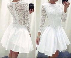Sexy Womens Lace Long Sleeve Causal Bodycon Cocktail Evening Party Mini Dress in Clothing, Shoes & Accessories, Women's Clothing, Dresses   eBay
