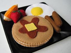 Felt Food Breakfast Special - Pancakes, Sausages, Egg & Fruit. $22.00, via Etsy.