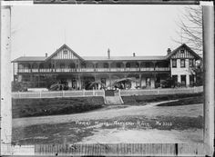 View of the hotel, Pipiriki House, above the Whanganui River. Photograph taken by William Archer Price. Other Titles - Pipiriki House. New Zealand Houses, Old Pictures, Maui, Photographs, Louvre, River, History, Building, People