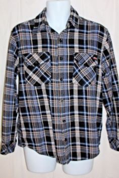 Vtg 80s Dickies Men M Plaid flannel Shirt jacket Grunge punk Lumberjack Western #Dickies #ButtonFront