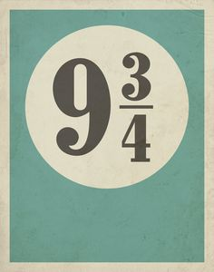 Typography Poster / Harry Potter Inspired Platform 9 3/4 with Distressed Effect…