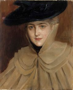 """Portrait of a Young Woman"" by Albert Gustaf Aristides Edelfelt July 1854 – 18 August was a Finnish painter. Female Portrait, Female Art, Turbans, Prinz Eugen, Buy Posters, Art Blog, Retro, New Art, Art History"