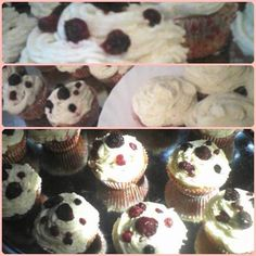 My first cupcakes :) with berries on their top. I'm so proud!