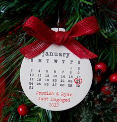 Just engaged ornament, Wedding ornament, personalized christmas ornament, engagement date, typewriter, engagement gift, mr and mrs on Etsy, $18.00