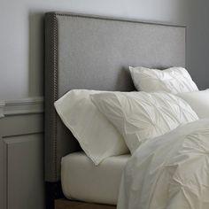 West Elm Inspired Tall Nailhead Upholstered Headboard  DIY