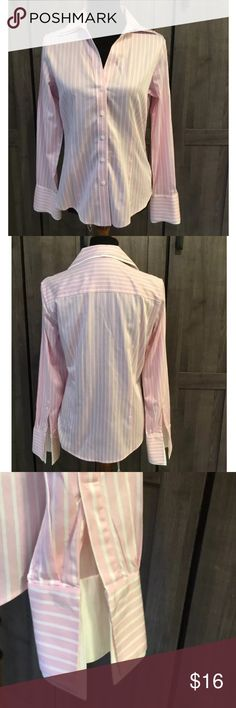 Brooks Brothers 346 Blouse Brooks Brothers 346 pink white striped long sleeve button down blouse. Womens size 8. Fitted stretch. Cuffs need cuff links. Brooks Brothers Tops