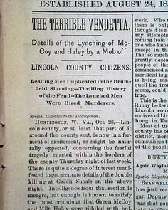 """Historic Newspaper with coverage of the Hatfield-McCoy feud: The Wheeling Intellingencer, Wheeling, West Virginia, October 29, 1889  """"The Terrible Vendetta"""" """"Details of the Lynching of McCoy and Haley by a Mob of Lincoln County Citizens"""" """"Leading Men Implicated in the Brumfield Shooting - Thrilling History of the Feud - The Lynched Men Were Hired Murderers"""""""