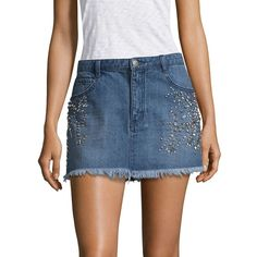 Free People Shine Bright Mini Denim Skirt ($98) ❤ liked on Polyvore featuring skirts, mini skirts, denim miniskirts, denim mini skirts, long blue skirt and embroidered denim skirts
