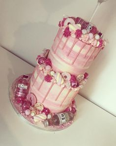 Image may contain: drink and indoor Alcohol Birthday Cake, 18th Birthday Cake For Girls, 21st Birthday Cupcakes, 19th Birthday Cakes, Birthday Drip Cake, Candy Birthday Cakes, 17th Birthday, Birthday Ideas, 18th Birthday Cake Designs