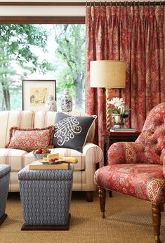 French Lessons Fabric Collection. Image: calicocorners.com. #living_room #ottomans #striped_sofa