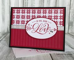 Gathering Inkspiration: Festive Phrases... To You, With Love, learn to stamp, handmade card, valentine's day card, handmade valentine's day card, hand stamped, hearts, arrows, silver metallic ribbon, red & black, demonstrator, paper crafting, hobby, easy, quick, rubber, stamps, stamping, craft, diy, clean & simple, stampin up, paper, *Stampin' Up, by Amy Frillici, Gathering Inkspiration, order products online at amysuzanne.stampinup.net #gatheringinkspiration