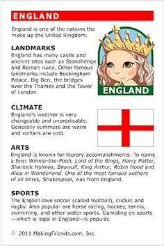 MakingFriends Facts about England Printable Thinking Day fact card for our passports. Perfect if you chose England for your Girl Scout Thinking Day or International Night celebration. Facts For Kids, Fun Facts, Facts About England, Around The World Theme, Little Passports, World Thinking Day, English Activities, World Geography, History Projects