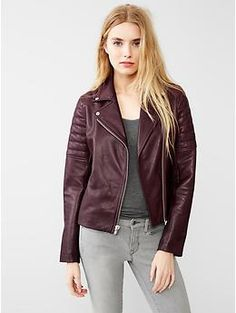Quilted leather biker jacket in Oxblood!!!Love this!!!