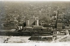 Toronto Downtown Aerial view, looking north from about the foot of Bay Street. Unknown Picture, O Canada, Aerial View, Old Pictures, Cn Tower, Roots, New York Skyline, Toronto, Cities