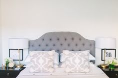 love this bedroom look. lamps with thin bases and two BW prints on each side.
