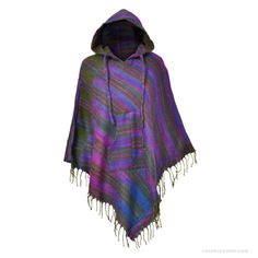 Himalayan Triangle Poncho Hoodie Assorted Earthtones on Sale for $34.99 at The Hippie Shop