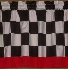 Checkered Flag Car Racing Window Valance