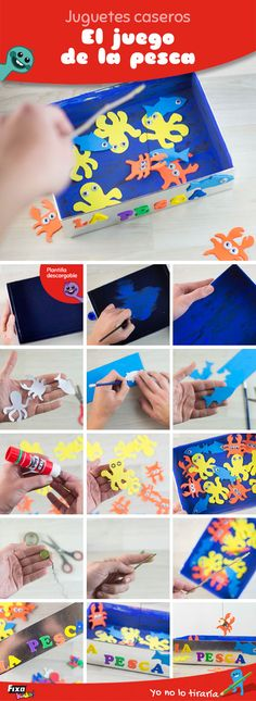 Step by step tutorial with photos to create a fun fishing game for kids. Home Made Games, Fishing Games For Kids, Pool Noodle Games, Diy Kaleidoscope, Paper Towel Tubes, Kindergarten Age, Teaching Colors, Toddler Books, Creative Skills
