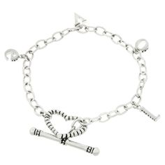Love Charm Bracelet by Icon Bijoux! White Gold Rhodium Bonded LOVE Charm Bracelet with Toggle Clasp in Silvertone. LOVE Charm Bracelet is a one word bracelet that can express a thousand words of sentiment when adorned around your wrist. Silver Bracelets, Jewelry Bracelets, Wire Jewelry, Jewelry Box, Fashion Jewellery Online, Love Charms, Heart Jewelry, Bridal Rings, Jewelry Collection