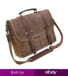 Mens Messenger Bag 15.6 Inch Waterproof Vintage Genuine Leather Waxed  Canvas . 75597c297e