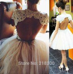 Backless Weiße Kurze Brautkleider Kappen-hülsen der Champagne Spitze Ballkleid Heimkehr Kleider Knielangen Open Back Cocktailkleid