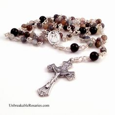 Divine Mercy of Jesus rosary beads in Botswana Agate www.UnbreakableRosaries.com