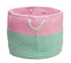 Pink and mint crochet basket - Ladedah Kids