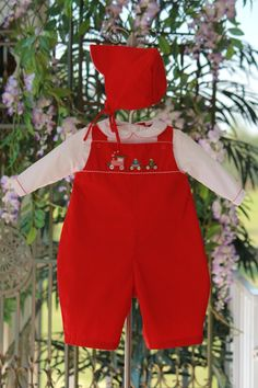 Petit Ami Red Longall with Train | Jolly Rompers