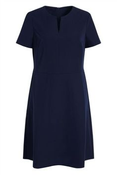 Navy Notch Neck Shift Dress