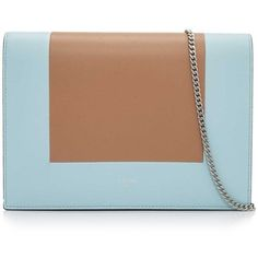 Cline Frame Evening Clutch on Chain ($1,220) ❤ liked on Polyvore featuring bags, handbags, clutches, blue, tan handbags, celine purse, chain handle handbags, blue handbags and chain purse